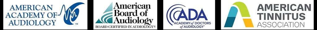 American Academy of Audiology, American Board of Audiology, Academy of Doctors of Audiology, and American Tinnitus Association logos